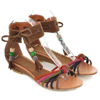 Multicolor Tie Up Tassels Sandals