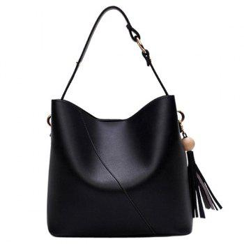 Wood Bead Tassel Shoulder Bag