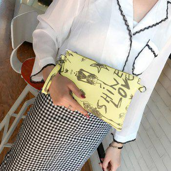 Graffiti Print Faux Leather Wristlet -  YELLOW