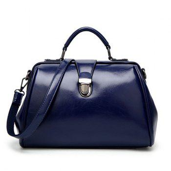 Top Handle Push Lock Handbag - BLUE BLUE