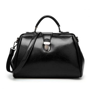 Top Handle Push Lock Handbag - BLACK BLACK