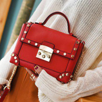 Chain Stud Trimmed Handbag - RED RED