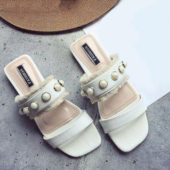 PU Leather Faux Pearls Slippers