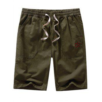 Drawstring Letter Embroidery Design Casual Shorts