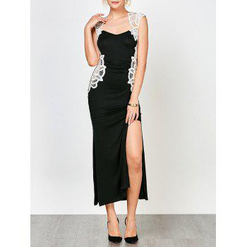 Lace Insert High Slit Evening Dress