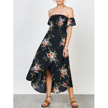 Floral Print Smocked Off The Shoulder Dress