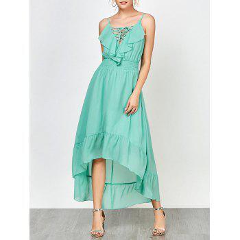 Spaghetti Strap Lace Up High Low Prom Dress