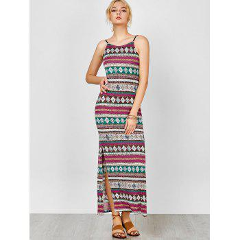Spaghetti Strap Backless Maxi Bohemian Dress - multicolorcolore L