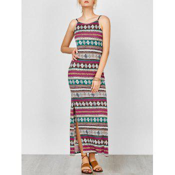 Spaghetti Strap Backless Maxi Bohemian Dress - COLORMIX COLORMIX