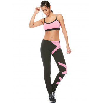 Padded Sports Bra and Two Tone Fitness Leggings - L L