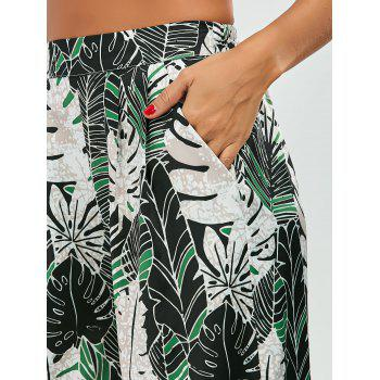 Leaf Print Tropical Palazzo Pants - GREEN GREEN