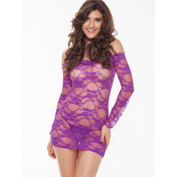 Lace Long Sleeve Sheer Lingerie Sleep Badydoll Robe - Violet Clair XL