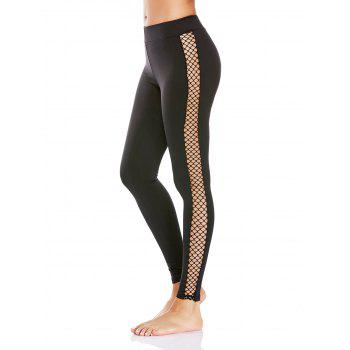 Sheer Mesh Fishnet Panel Workout Leggings