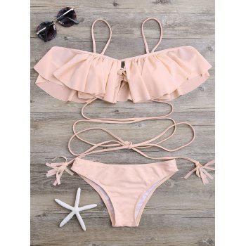 Lace-Up Padded Ruffle Bikini Set