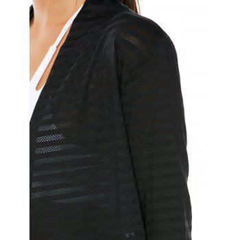 Quick Dry Collarless Front Wrap Top - Noir M