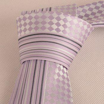 Mulberry Silk Stripe Tiny Plaid Tie - PINKISH PURPLE
