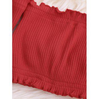Ribbed Off The Shoulder Long Sleeve Crop Top - RED RED