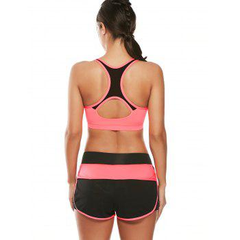 Strappy Padding Sports Bra et Layer Running Shorts - Pastèque Rouge M