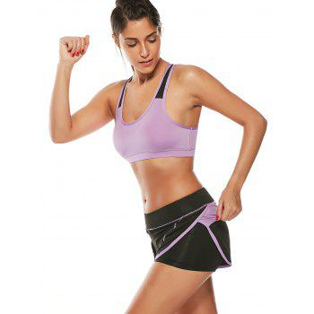 Strappy Padded Sports Bra and Layer Running Shorts - PURPLE PURPLE