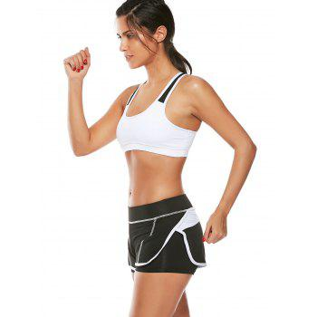 Strappy Padded Sports Bra and Layer Running Shorts - WHITE L