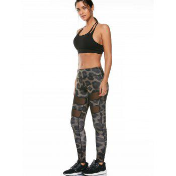 Snake Printed Workout Leggings with Mesh - multicolor multicolor