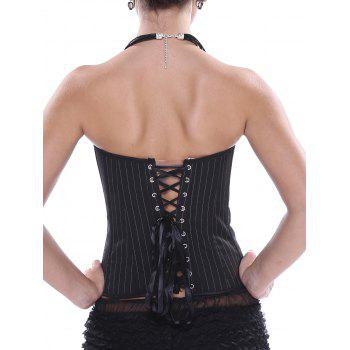 Lace-Up Striped Strapless Corset Top - BLACK BLACK