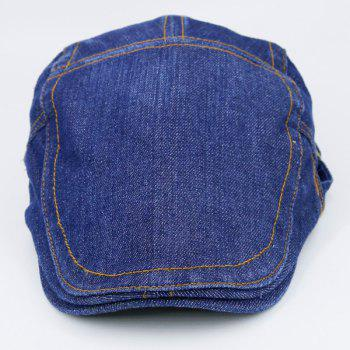 Adjustable Vintage Denim Flat Hat -  MEDIUM BLUE