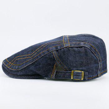 Denim Line Embroidered Newsboy Hat -  FULL BLACK
