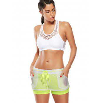 Layer Drawstring Sports Shorts with Pockets - FLUORESCENT YELLOW M