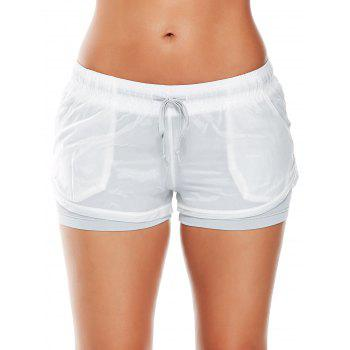 Layer Drawstring Sports Shorts with Pockets - GRAY S