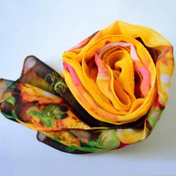 Multicolor Blossom Printed Lightsome Chiffon Gossamer Scarf - YELLOW