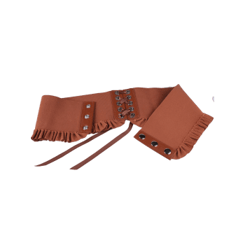 Pleated Elastic Metal Circles Lace Up Corset Belt - CHOCOLATE