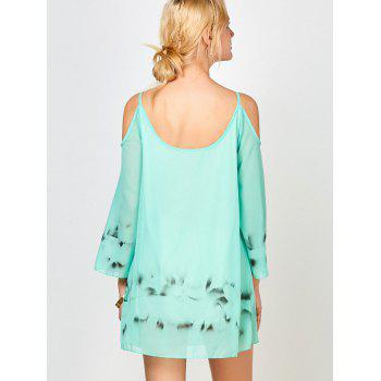 Cold Shoulder Chiffon Dress with Chinese Painting - GREEN XL