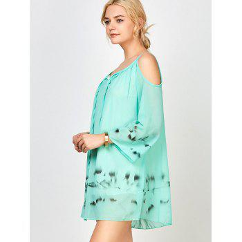 Cold Shoulder Chiffon Dress with Chinese Painting - GREEN M