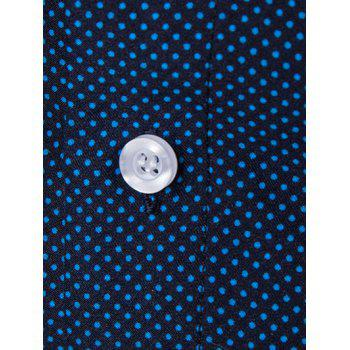 Polka Dot Long Sleeve Shirt - BLUE L