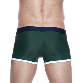 Color Block Panel Stretchy Drawstring Swimming Trunks - CERULEAN M