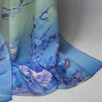 Chinoiserie Bird Flowering Branches Printing Shawl Scarf - BLUE GREEN