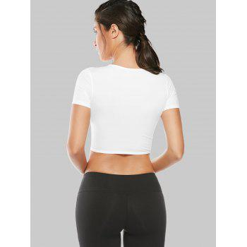 Mesh Panel Cropped T-Shirt - WHITE S