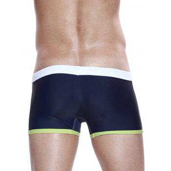 Color Block Panel Stretchy Drawstring Swimming Trunks - WHITE XL