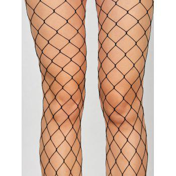 High Waisted Exotic Fishnet Tights - BLACK ONE SIZE