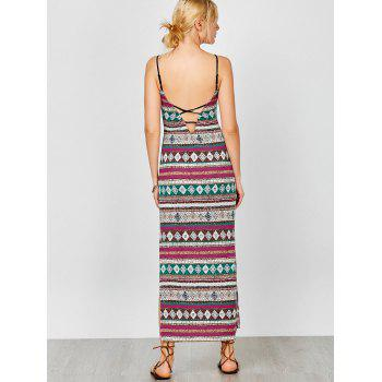 Spaghetti Strap Backless Maxi Bohemian Dress - multicolore L