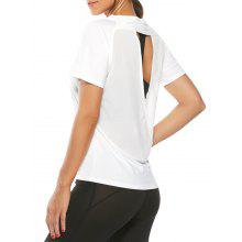 Mesh Insert Quick Dry Back Surplice T-Shirt