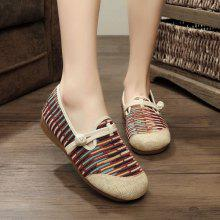 Knot Button Striped Flat Shoes