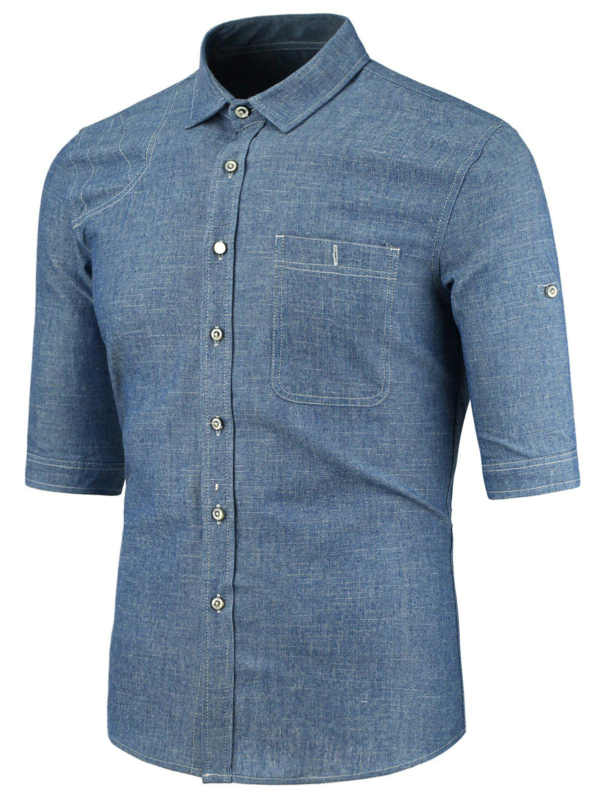 2018 Button Pocket Half Sleeve Denim Shirt Blue L In