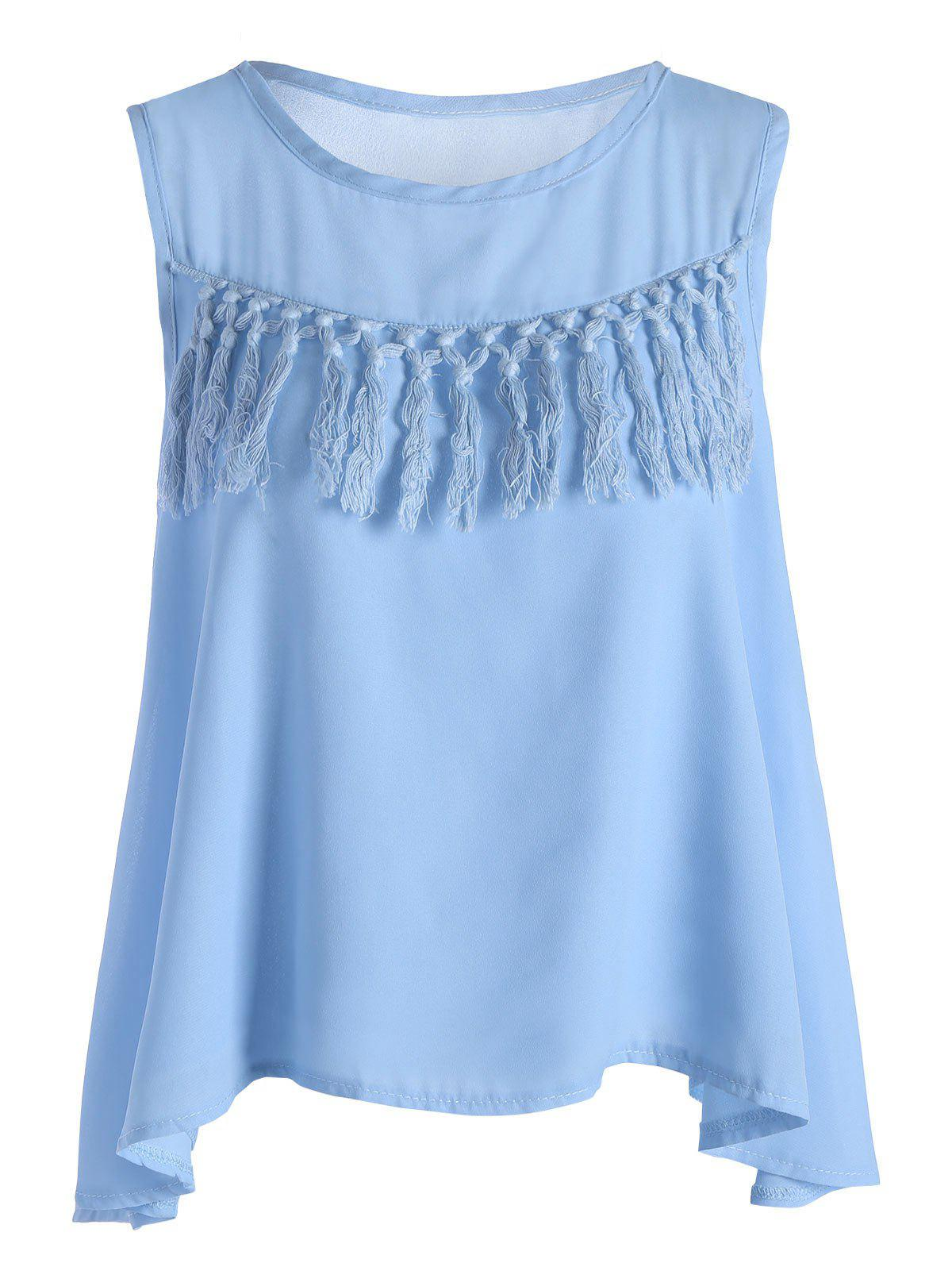 Tassel Chiffon Tank Top - BLUE XL