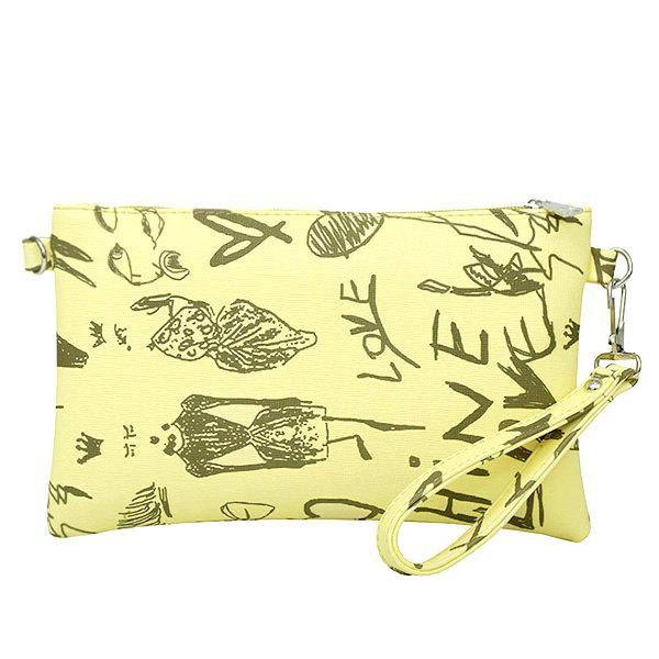 Graffiti Print Faux Leather Wristlet - Jaune