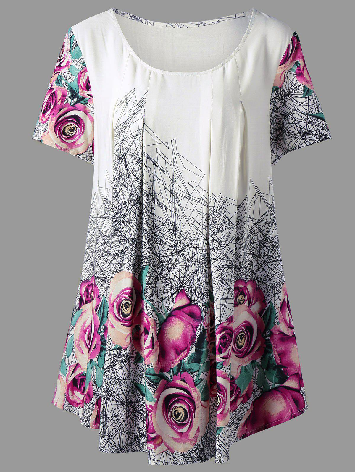 Top Tunique à imprimé 3D grand format - Floral 3XL