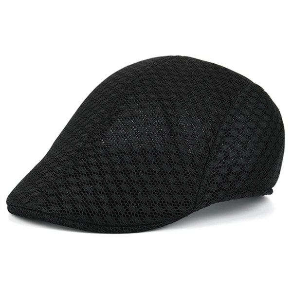 Breathable Hollow Out Mesh Newsboy Hat - BLACK