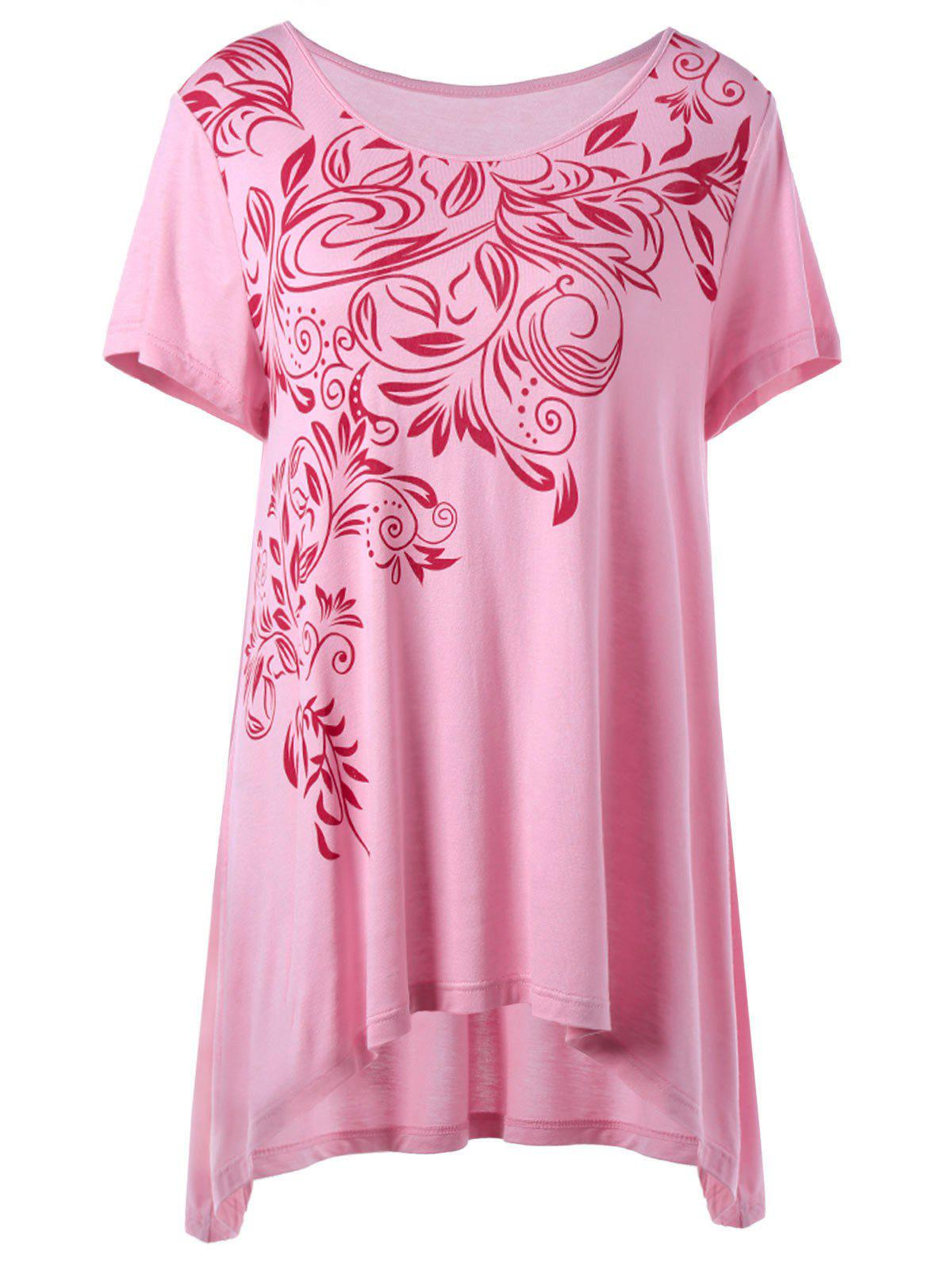 2018 Plus Size Bandana Floral High Low Hem T Shirt Pink Xl