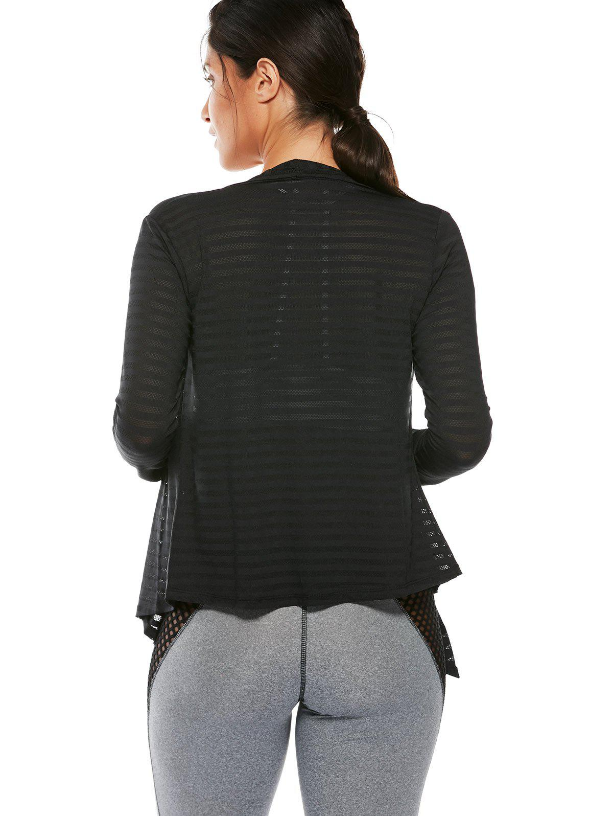 Quick Dry Collarless Front Wrap Top - Noir S